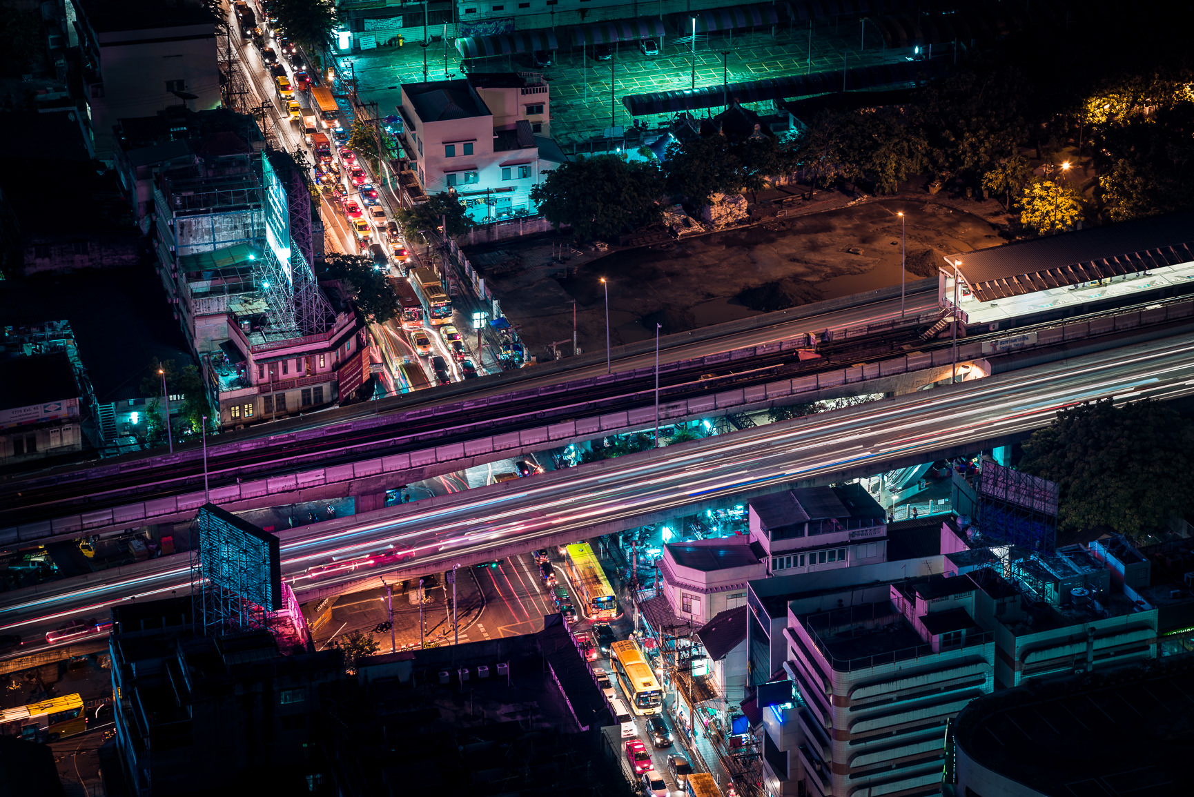 City lights and busy traffic